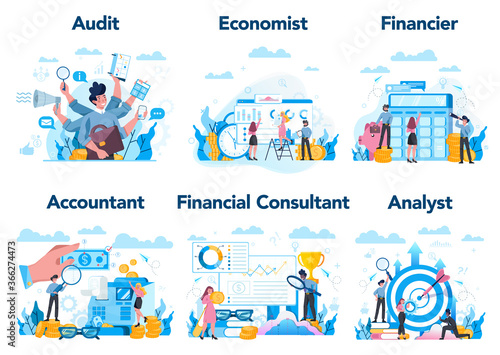 Fototapeta Financial or business profession set. Business character making