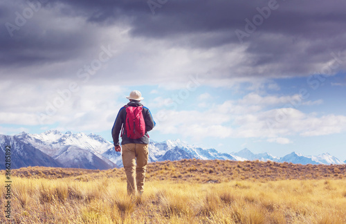 Hike in mountains Canvas-taulu