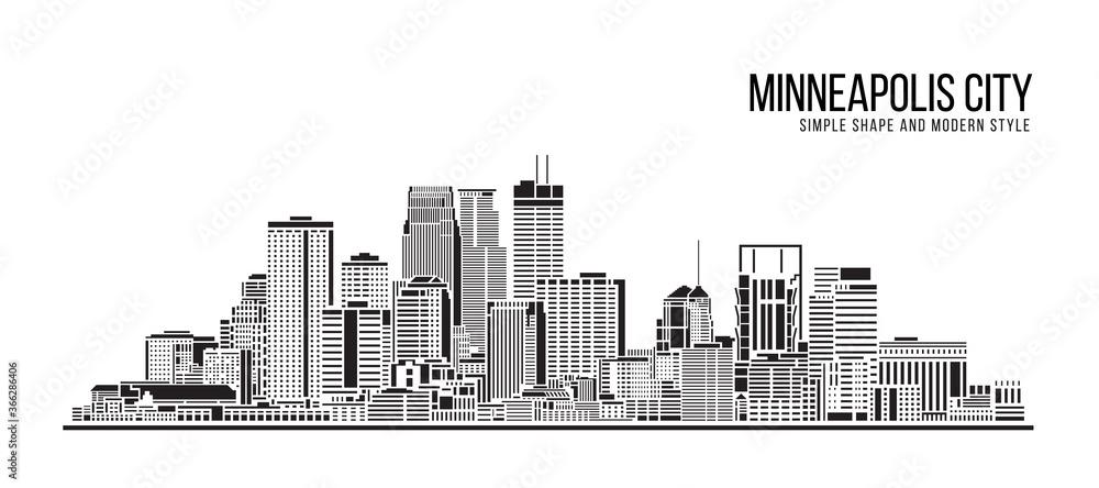 Fototapeta Cityscape Building Abstract Simple shape and modern style art Vector design - Minneapolis city