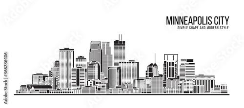 Fototapeta Cityscape Building Abstract Simple shape and modern style art Vector design - Minneapolis city obraz