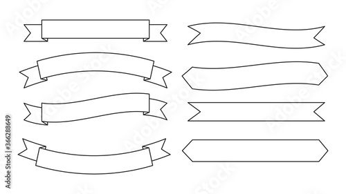 Obraz Collection of ribbons banner outline style vector set - fototapety do salonu