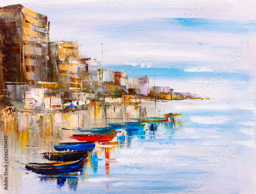 oil-painting-harbor-view