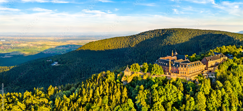 Fototapeta Mont Sainte-Odile Abbey in the Vosges Mountains. Major tourist attraction in Alsace, France