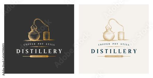 Leinwand Poster Copper pot still whiskey distillery premium logo