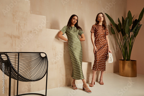 Leinwand Poster Two fashion model brunette hair wear green  brown dots silk dress sandals  accessory clothes date party walk interior journey summer collection plant flowerpot stairs beautiful woman tan skin friends
