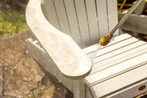 Fototapeta Power washing outdoor furniture obraz
