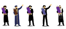 Vector Drawing Of Observant Jews And Rabbis, Ashkenazis And Sephardim Dressed In Authentic Jewish Clothes Holding Closed Torah Scrolls And Dancing.