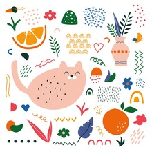 Abstract Hand Drawn Shapes. Big Set Of Contemporary Doodle Objects, Modern Isolated Elements. Vector Illustration