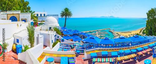 Valokuvatapetti The stunning seascape from the open terrace of traditional restaurant in Sidi Bo