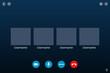 Video conference call. Communication via internet. Screen mockup. Application interface.