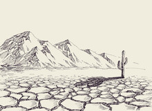 Desert Landscape, Arid Environment And A Cactus In The Background