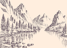 Hand Drawn Vector Illustration Of Mountain Pine Forest And Alpine River