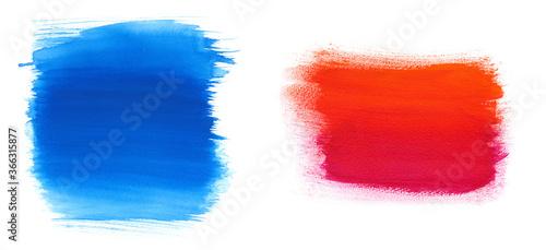 水彩 絵具テクスチャ 青色と赤色背景素材 Wallpaper Mural