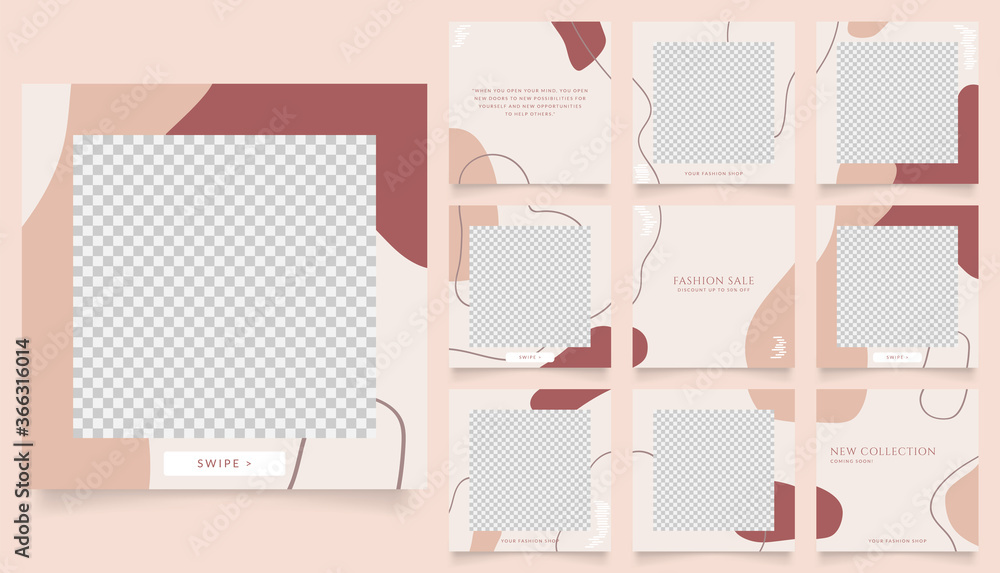 Fototapeta social media template banner fashion sale promotion. fully editable instagram and facebook square post frame puzzle organic sale poster. brown beige vector background
