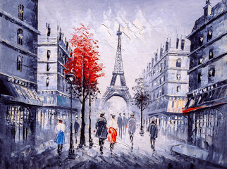 Panel Szklany Architektura Oil Painting - Street View of Paris