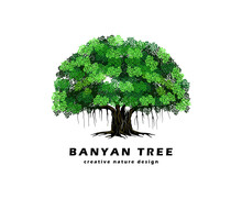 Banyan Tree Logo Design, Vecto...