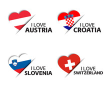 Set Of Four Austrian, Croatian, Slovenian And Swiss Heart Shaped Stickers. I Love Austria, Croatia, Slovenia And Switzerland. Made In Austria, Made In Switzerland. Simple Icons With Flags