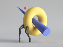 3d Render, Primitive Colorful Geometric Shapes: Blue Cone Inside Yellow Torus, Donut, Red Ball, Black Legs Walk, Isolated On White Background. Modern Fashion Design. Abstract Surreal Funny Freak Show