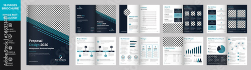 Photo 16 page Multipurpose Brochure template, simple style and modern layout, Elements