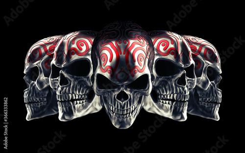 Billede på lærred Five metal skulls with tribal red tattoos