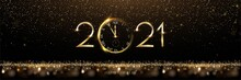 Golden 2021 Number With Watch Vector Illustration