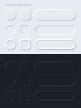 Editable White And Black Neomorphic Buttons Set. Sliders For Websites, Mobile Menu, Navigation And Apps. Simple Elegant Neomorphism Trendy 2020 Designs Element UI Vector Isolated Components.