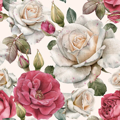 Fototapeta Vintage Floral seamless pattern with watercolor white and pink roses