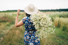 Summer In Countryside. Stylish Young Woman In Blue Vintage Dress And Hat Walking With White Wildflowers In Summer Meadow. Beautiful Girl With Big Daisies Bouquet In Field, Back View.