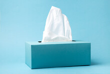Blue Tissue Box On A Blue Background