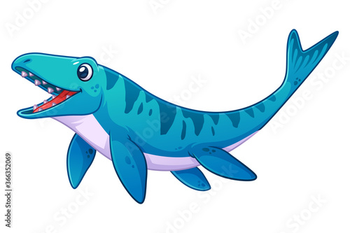 Cuadros en Lienzo Little Mosasaurus Cartoon Illustration