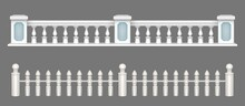White Marble Balustrade, Handrail For Balcony, Porch Or Garden In Classic Roman Style. Vector Realistic Set Of Stone Railing Sections, Banister With Pillars And Decorative Columns