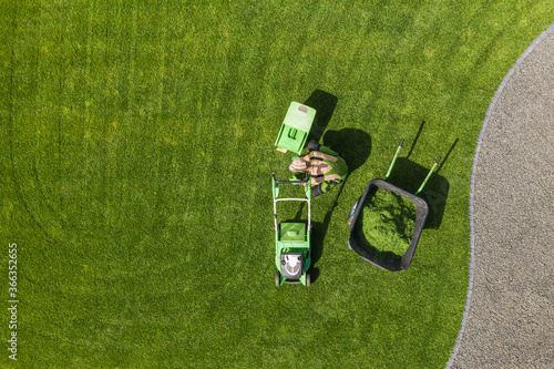 Backyard Garden Lawn Mowing and Maintenance Aerial View Fototapete