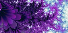 Abstract Fractal Background With Purple Circles - Prince Would Have Loved This Design With All The Purple You Can Imagine! Leaves, Petals, Whimsical Patterns Under A Starry Sky Above.