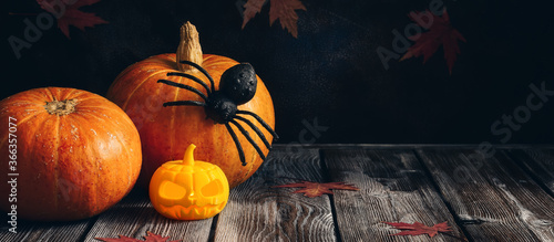 Fotografía Halloween composition pumpkin, spider and maple leaves on a dark wooden rustic table, banner