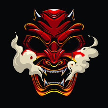 Devil Samurai  Mask Illustration