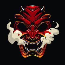 Devil Samurai  Mask Illustration