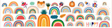 Colorful Summer Trendy Rainbows Vector Illustrations. Rainbows And Doodles Collection. Rainbows, Cute Animals And Flowers