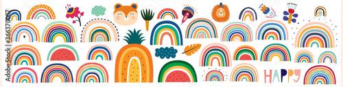 Fotografie, Obraz Colorful Summer trendy rainbows vector illustrations