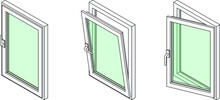 Diagram Showing A Casement Window In Three Different Positions: Closed, Tilted Open For Ventilation, And Swung Fully Open.