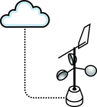 Concept: Internet Of Things. Big Data Environmental Sensor: Wind Speed And Direction.