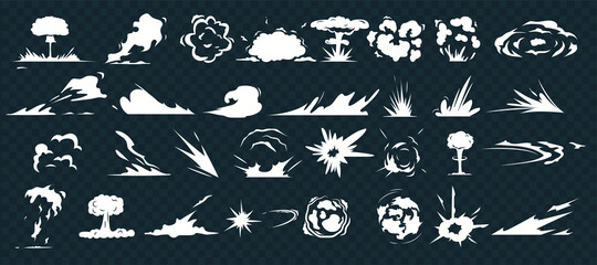 Explosion effect. Dust smoke cloud, cartoon war blast and motion speed sparks on isolate background. Comic energy explosion.  Bomb dynamites detonators. Smoke clouds, puff, mist, fog  effects template