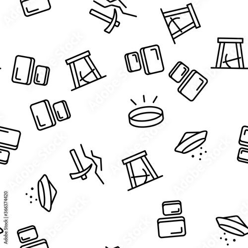 Photo Gold Jewelry Metal Vector Seamless Pattern Thin Line Illustration