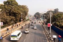 KATHMANDU, NEPAL - DEC 8, 2018 - Heavy Traffic Congestion In Kathmandu City Centre