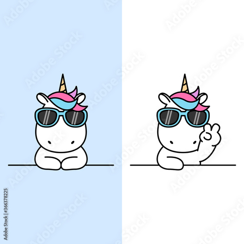 Obraz Cute unicorn with sunglasses over wall cartoon, vector illustration - fototapety do salonu