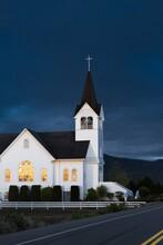 A Church With Dark Blue Sky