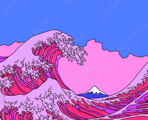 Slika na platnu Great Wave in Vaporwave Pop Art style