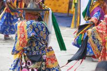 Blue Skirt Black Hat Dancers Zhang Cham   Celebrate Victory Of Good Over Evil