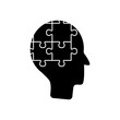 mental health concept, head with jigsaw pieces, silhouette style