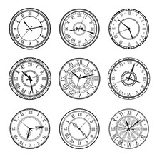 Vintage Clock Faces, Vector Retro Watch Dials Signs. Ornate Watchface With Clock Hands, Roman Numerals And Antique Ornament Design. Elegant Classic Hour Time Symbols, Isolated Monochrome Icons Set