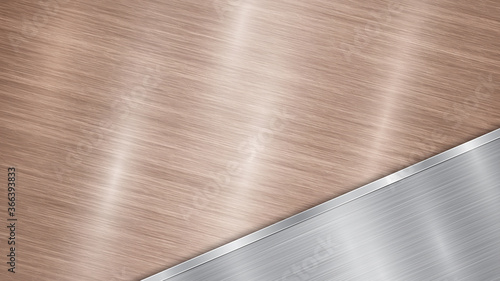 Photo Background consisting of a bronze shiny metallic surface and one polished silver
